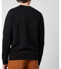 maison kitsuné men's tricolour fox patch clean sweatshirt - black - l