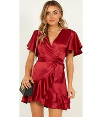 showpo mingling with you dress in wine satin - 6 (xs) the nightclub
