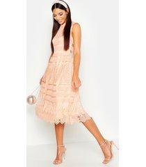 boutique lace skater bridesmaid dress, peach