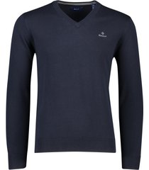 gant trui v-hals donkerblauw