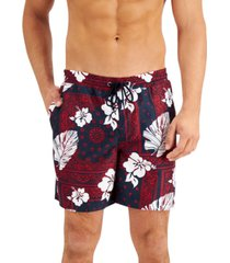 "club room men's floral bandana 7"" swim trunks"