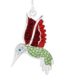 fine silver plated crystal hummingbird charm