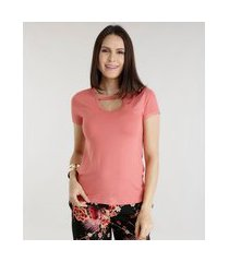 blusa básica chocker rosa
