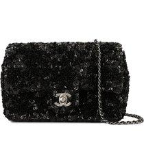 chanel pre-owned spangle single chain shoulder bag - black