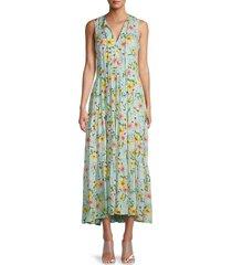 calvin klein women's floral-print maxi dress - seas multi - size 14