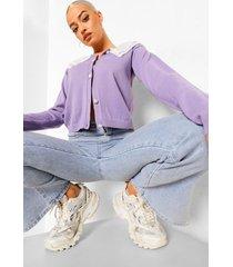 lange gewatteerde jas met kraag en ceintuur, purple