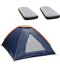 barraca camping nautika panda 2 pessoas + 2 colchões solteiro inflável fit ecologic