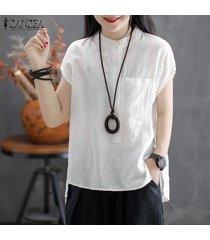 zanzea blusa con botones básicos para mujer blusa túnica suelta talla grande -blanco