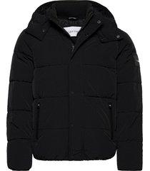 crinkle nylon mid length jacket fodrad jacka svart calvin klein