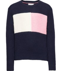 essential colourblock sweater pullover blauw tommy hilfiger