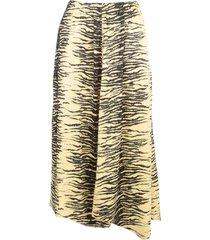 ganni crinkled satin straight skirt