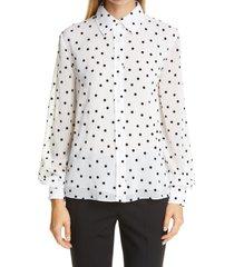 women's carolina herrera polka dot shirt, size 8 - white