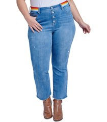 seven7 jeans trendy plus size rainbow-trim bootcut ankle jeans