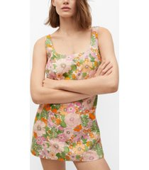 mango women's floral print jumpsuit