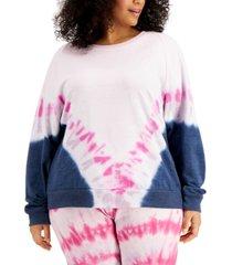 full circle trends trendy plus size tie-dyed sweatshirt