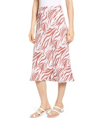 women's rails anya print midi skirt, size x-large - brown