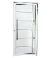 porta esquerda com lambri e puxador em alumínio super 25 miraggio 210x100cm branca