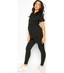 maternity batwing tie waist legging lounge set, black
