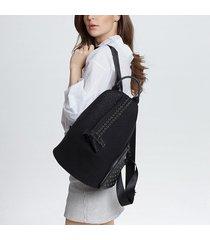 mochila de mujer, bolso de remache de moda para mujer-negro