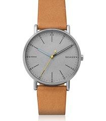 skagen designer men's watches, signatur tan leather watch