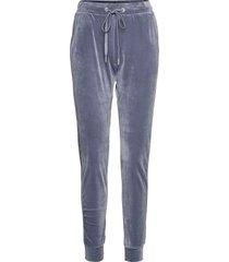 jogger velours shimmer tape pyjamasbyxor mjukisbyxor blå hunkemöller