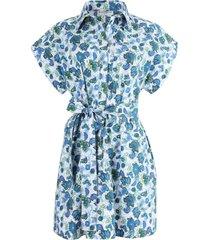 blue floral button-down dress