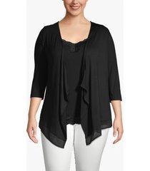 lane bryant women's lane essentials chiffon-trim drape-front cardigan 10/12 black