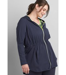 lane bryant women's livi zip-front hooded jacket with wicking 18/20 blue nights