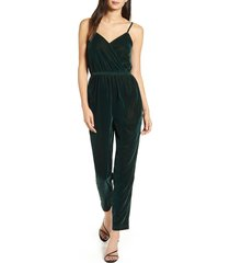 women's cupcakes and cashmere budapest wrap front velvet jumpsuit