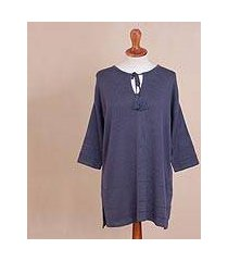 pima cotton and viscose blend tunic sweater, 'flirty blue-violet' (peru)