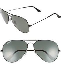 ray-ban original 62mm polarized aviator sunglasses - black/ polarized
