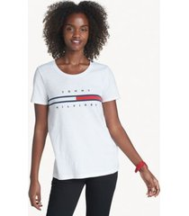 tommy hilfiger women's relaxed fit essential logo flag t-shirt bright white - xs