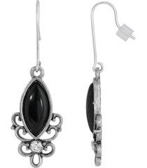 2028 sterling silver wire genuine stone onyx earrings