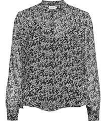 georgette ls plisse blouse blouse lange mouwen zwart calvin klein