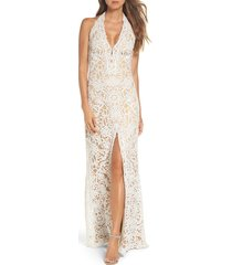 women's tadashi shoji halter sequin lace column wedding dress