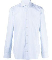 barba vertical-stripe cotton shirt - blue