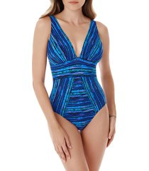 miraclesuit women's secret sanskrit odyssey striped one-piece swimsuit - blue - size 12