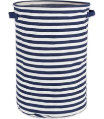 design imports polyethylene coated herringbone woven cotton laundry hamper stripe french round