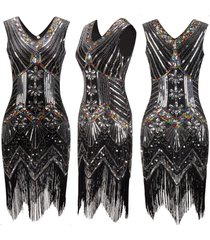 women 1920s charleston flapper costume sequin fringe gatsby party dress s-xxl
