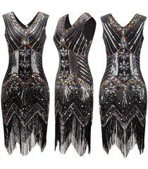 women 1920s charleston flapper costume sequin fringe gatsby party dress s-xxl