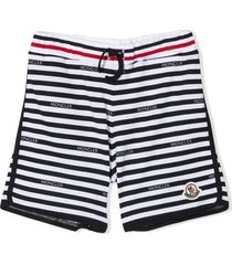 moncler navy blue and white cotton track shorts