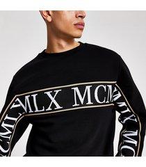 river island mens mcmlx black tape slim fit sweatshirt