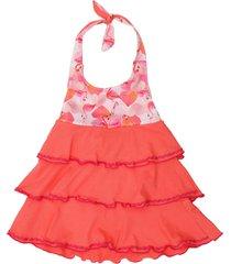 vestido salmón cante pido volados flamenco