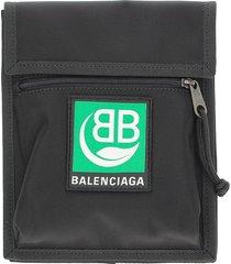 balenciaga designer men's bags, black nylon explorer clutch
