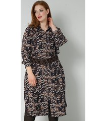blouse sara lindholm beige::cognac::zwart