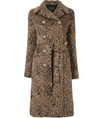 giambattista valli animal-print double breasted coat - brown