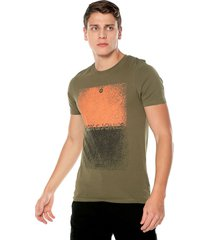 camiseta verde oliva-naranja jack & jones