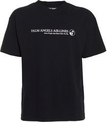 black and white palm airlines logo t-shirt