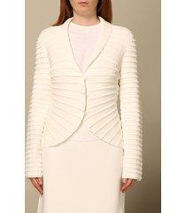 emporio armani blazer emporio armani single-breasted blazer in stretch knit