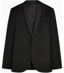 mens premium black shadow check single breasted tuxedo blazer with shawl lapel